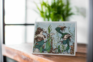 Mermaid Cove - Fantasy Inspired Watercolor Art Print - Handmade Note Card