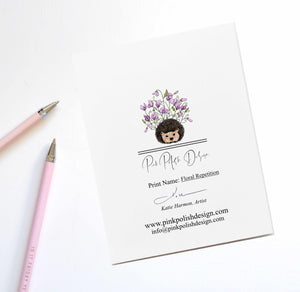 Floral Repetition - Iris Inspired Handmade Note Card - Note Card