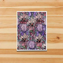 Load image into Gallery viewer, Floral Repetition - Iris Inspired Handmade Note Card - Note Card