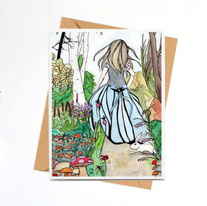 Alice - Lewis Carroll's Wonderland Inspired Watercolor Painting Art Print- Handmade Note Card