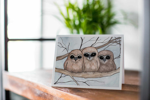 Owl Huddle, Owlet Inspired Watercolor Print - Handmade Note Card