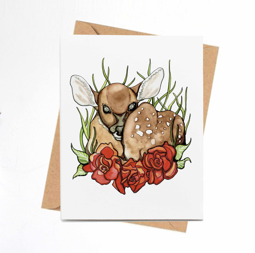 "Handmade Note Card ""Rosie Deer"" / Cute Deer Card / A2 Card & Envelope"