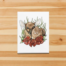 "Load image into Gallery viewer, Handmade Note Card ""Rosie Deer"" / Cute Deer Card / A2 Card & Envelope"