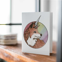 Load image into Gallery viewer, Foxcorn - Fox Unicorn Inspired Watercolor Art Print - Handmade Note Card