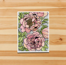 Load image into Gallery viewer, Floral Carpet - Peony Inspired Watercolor Print - Handmade Note Card