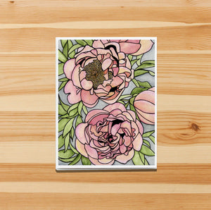 Floral Carpet - Peony Inspired Watercolor Print - Handmade Note Card