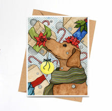 Load image into Gallery viewer, Holiday Expectations - Puppy Inspired Watercolor Painting- Handmade Note Card