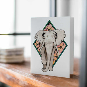 Elle Elephant - Animal Inspired Watercolor Print - Handmade Note Card