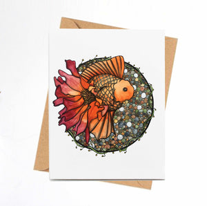 Blooming Goldfish - Fish Inspired Watercolor Art Print - Handmade Note Card