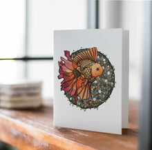 Load image into Gallery viewer, Blooming Goldfish - Fish Inspired Watercolor Art Print - Handmade Note Card