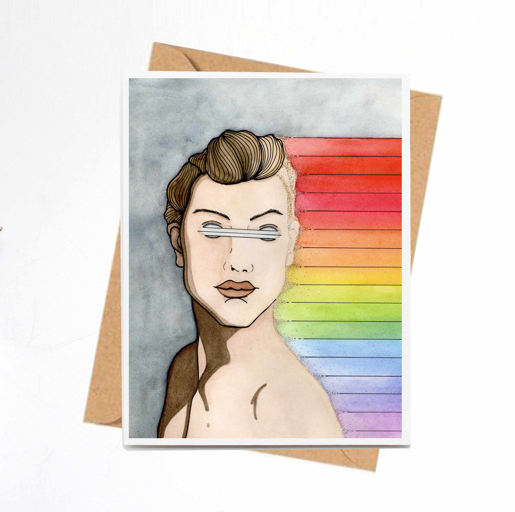 Unseen Rainbows -Pride Inspired Art Print - Handmade Note Card