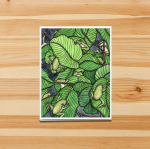 Knot of Frogs - Tree Frog Inspired Watercolor Print - Handmade Note Card