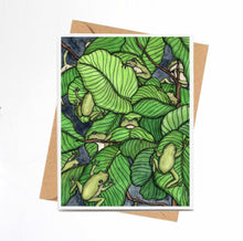 Load image into Gallery viewer, Knot of Frogs - Tree Frog Inspired Watercolor Print - Handmade Note Card