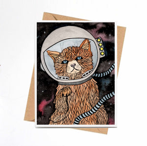 Space Kitty - Celestial Inspired Watercolor Art Print - Handmade Note Card