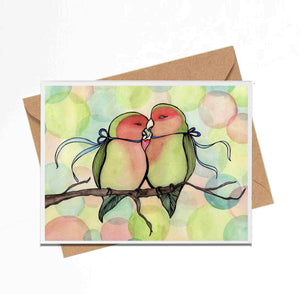 "Handmade Note Card ""Love Birds"" / Bird Stationary / Friendship Card / Love Note / A2 Card & Envelope"
