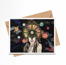 Load image into Gallery viewer, Celestial - Sun Goddess Inspired Watercolor Print - Handmade Note Card