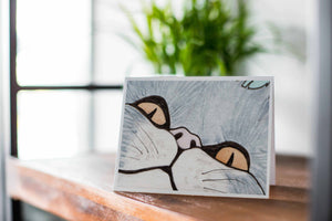 Peeking Cat - Pet Inspired Watercolor Print - Handmade Note Card