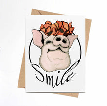 Load image into Gallery viewer, Poppy Pig - Smile Inspired Watercolor Art Print - Handmade Note Card