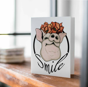 Poppy Pig - Smile Inspired Watercolor Art Print - Handmade Note Card