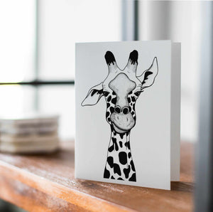 Irritated - Funny Giraffe Inspired Ink Drawing Art Print - Handmade Note Card