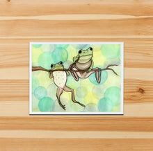 Load image into Gallery viewer, Handmade Note Card / Frog Art Card / Hanging Out / Friendship Card Gift / Frog Stationary / Watercolor Art Print / A2 Card and Envelope /