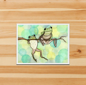Handmade Note Card / Frog Art Card / Hanging Out / Friendship Card Gift / Frog Stationary / Watercolor Art Print / A2 Card and Envelope /