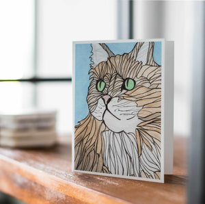 Green Eyed Cat - Pet Inspired Watercolor Print - Handmade Note Card