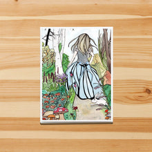 Load image into Gallery viewer, Alice - Lewis Carroll's Wonderland Inspired Watercolor Painting Art Print- Handmade Note Card