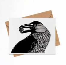 Load image into Gallery viewer, Raven - Magic Inspired Ink Drawing - Handmade Note Card