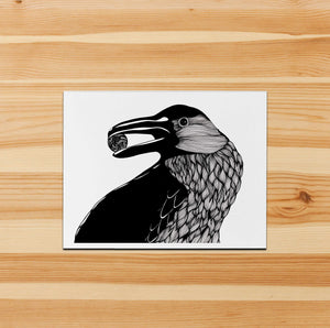 Raven - Magic Inspired Ink Drawing - Handmade Note Card