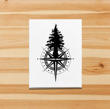 Load image into Gallery viewer, Tall Tree Compass -PNW Inspired Ink Drawing Card - Handmade Note Card