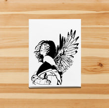 Load image into Gallery viewer, Unfurled -  Bold Woman Inspired Ink Drawing Print - Handmade Note Card