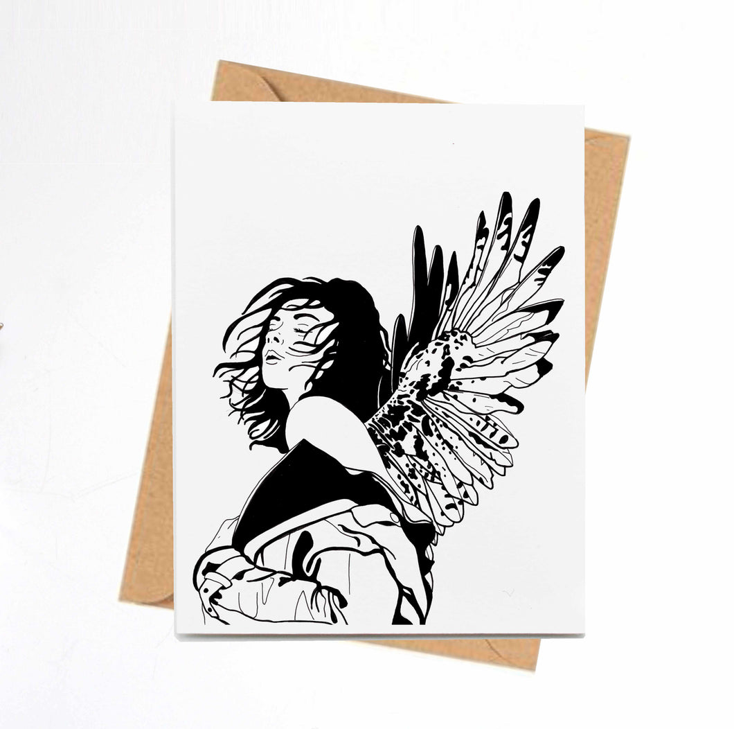 Unfurled -  Bold Woman Inspired Ink Drawing Print - Handmade Note Card