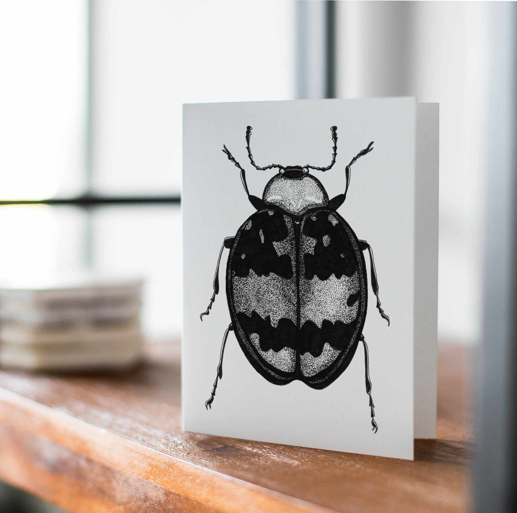 Beetle Bug - Entomology Inspired Handmade Note Card - Note Card