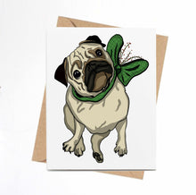 Load image into Gallery viewer, Pugmas Cheer - Pug Puppy Inspired Digital Painting- Handmade Note Card