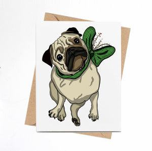 Pugmas Cheer - Pug Puppy Inspired Digital Painting- Handmade Note Card