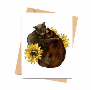 Cocoa & Grey- Cat Inspired Digital Painting- Handmade Note Card