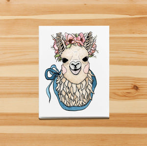 Mamma Llama - Cute Llama Inspired Watercolor Art Print - Handmade Note Card