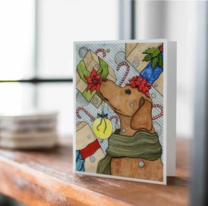 Holiday Expectations - Puppy Inspired Watercolor Painting- Handmade Note Card