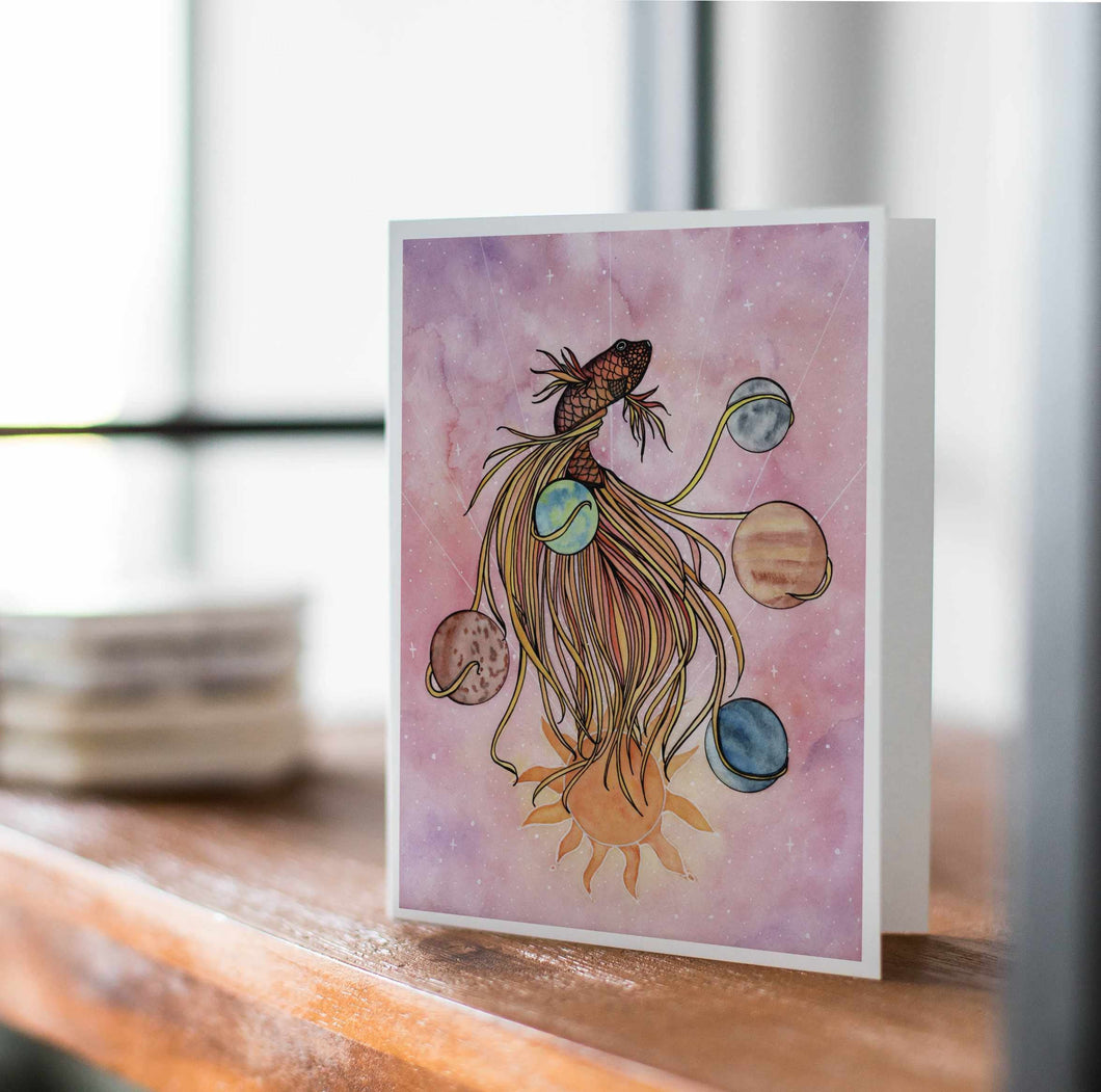 Pisces - Astrology Inspired Watercolor Art Print - Handmade Note Card