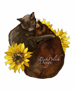 Cocoa & Grey - Pet Portrait Inspired Digital Painting - Art Print