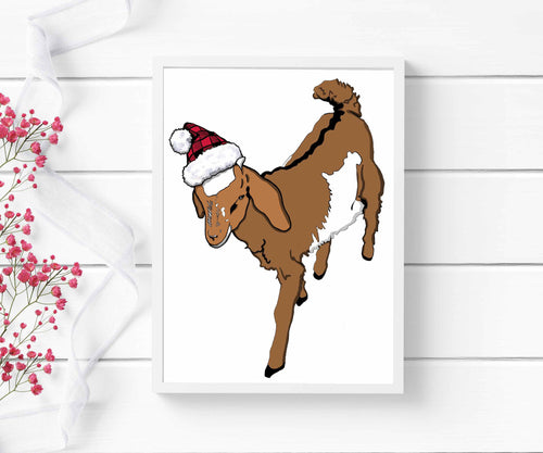 Holiday Goat - Farm Inspired Digital Painting - Art Print