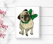 Load image into Gallery viewer, Pugmas Cheer - Holiday Pug Inspired Digital Painting - Art Print