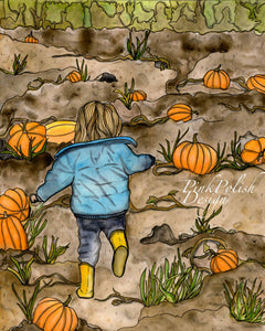 Pumpkin Patch - Fall Inspired Watercolor Painting - Art Print