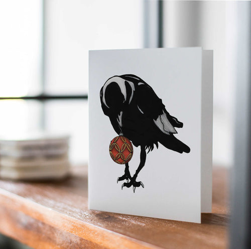 Shiny Things - Raven Inspired Watercolor Art Print - Handmade Note Card
