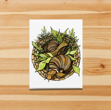 Load image into Gallery viewer, Snail Garden - PNW  Inspired Watercolor Art Print - Handmade Note Card