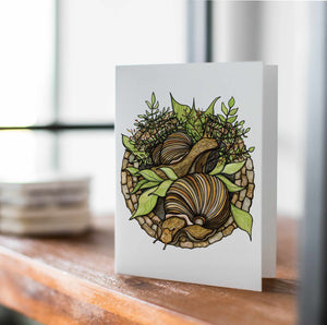 Snail Garden - PNW  Inspired Watercolor Art Print - Handmade Note Card