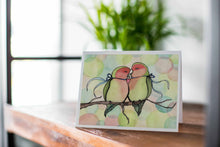 "Load image into Gallery viewer, Handmade Note Card ""Love Birds"" / Bird Stationary / Friendship Card / Love Note / A2 Card & Envelope"