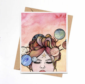 Orbit - Solar System Inspired Watercolor Print - Handmade Note Card
