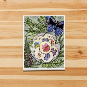 Pansy Shortbread,  Confections Inspired Watercolor Print - Handmade Note Card